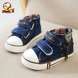wide canvas shoes Australia - Spring Children Canvas Boys Fashion Sneakers Kids Casual Zipper Girls Jeans Denim Flat Boots Baby Toddler Shoes MX190726 MX190727