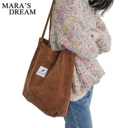 $enCountryForm.capitalKeyWord Australia - Mara's Dream High Capacity Women Corduroy Tote Ladies Casual Solid Color Shoulder Bag Foldable Reusable Women Shopping Beach Bag