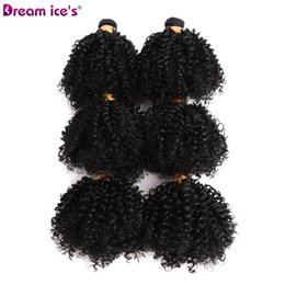 Wholesale 6 Bundles Kinky Curly Hair Synthetic Weave Ombre Hair Weft Ka Fiber Soft Natural Color inch For Full Head