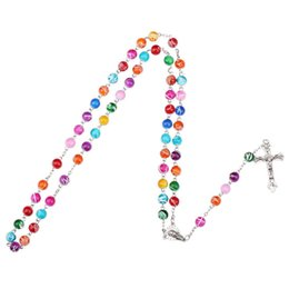 Polymer Pendants Australia - Colorful Polymer Clay Bead Rosary Pendant Necklace Alloy Cross Virgin Mary Centrepieces Christian Catholic Religious Jewelry -P