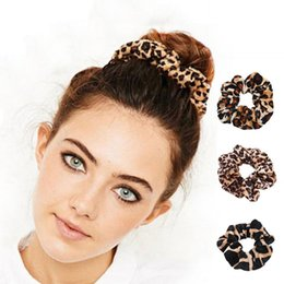 Discount hair rubber band soft - Rubber Band Soft For Women Winter Leopard Print Ponytail Accessories Girls Hair Ring Headwear Hair Rope Female Velvet Sc