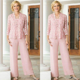lilac lavender pant suits women Canada - Pink Lace Chiffon Three Pieces Mother Of the Bride Pant Suit with Long Sleeve Jacket 2019 Plus Size Women Prom Party Pantsuit