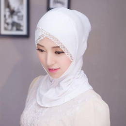 lace hijab caps Australia - 2019 New Simple Lace Muslim Hijab Jersey Cap Diamond Women Cotton Underscarf Instant Head Scarf Full Cover Inner Covering