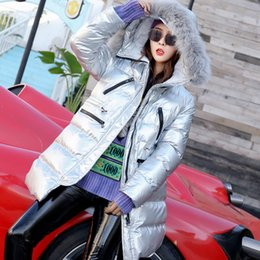 $enCountryForm.capitalKeyWord NZ - 2018 Winter Silver Shiny Thickening Parkas Real Fur Collar Thicken Cotton Pad Loose Hooded Streetwear Winter Long Coat Female