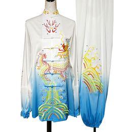 Tai Chi Clothing For Women UK - Chinese Wushu uniform Kungfu clothing Tai chi garment Martial arts suit taolu kimono Qigong costume for men women children girl boy kids