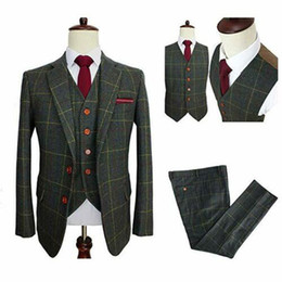 brown herringbone suit Australia - Classic Tweed Herringbone Wedding Tuxedos Wool Blend Mens Suits 3 Pieces Check Plaid Dark Green Formal Best Men Blazer Custom Jackets