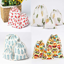 $enCountryForm.capitalKeyWord Australia - 6 Color Casual Women Cotton Drawstring Shopping Bag Eco Reusable Folding Grocery Cloth Underwear Pouch Case Travel Home Storage