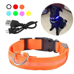 Wholesale USB Rechargable Dog LED Flashing Collar Pet Cat Luminous Collar Glowing Necklace Outdoor Anti lost Night Safety For Dog Walking