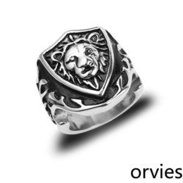 animal rings lions UK - 2020 European and American punk gothic jewelry creative fashion animal ring bully men's metal lion head ring