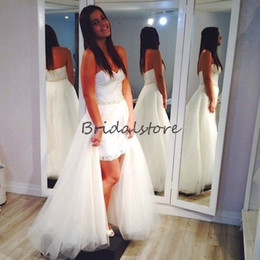 Discount beaded wedding dresses detachable skirt - Classy Hi Low Beach Wedding Dresses With Overskirts Sweetheart Beaded Sash Country Bridal Gown For Petite Bride Cheap bo
