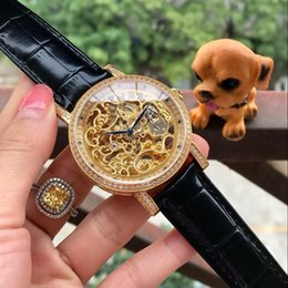 Cheap Black Diamond Watch UK - skeleton All work diamond BEZEL GOLD 42MM CASE cheap mechanical automatic men watch wholesale fashion new Stainless steel mens watche