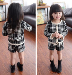 childrens winter outfit Canada - Girls Baby Childrens Outfits & Sets Kids Clothes New Autumn Winter Cardigan Jackets Coat and Shorts 2Sets