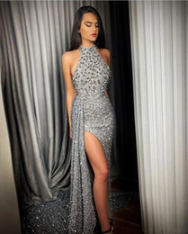 Wholesale red one piece dress photo for sale - Group buy 2020 Luxury Silver Beaded Split Prom Dresses Halter Neck Mermaid Sequins Formal Party Evening Gowns robe de soriee