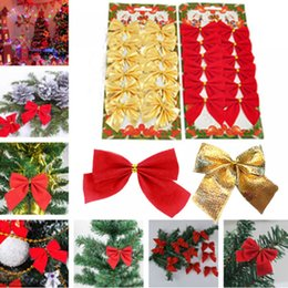 $enCountryForm.capitalKeyWord Australia - 12 pcs lot Pretty Bow Tie Christmas Tree Ornaments Christmas Pendant Tree Decoration Baubles New Year Decorations For Home