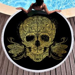 $enCountryForm.capitalKeyWord NZ - 1 Pcs Fashion Style Skull Head Round 150cm Beach Towel With Tassels Picnic Blanket Swimming Towel Toalla De Playa