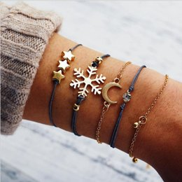 disc bracelet UK - Bracelet set 5pcs set rope metal chain snowflake moon star round disc charm white crystal setting gold color plated