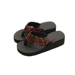 peep toe slipper wedges 2019 - Women's Summer Sequins Anti-slip Sandals Peep Toe Home Wedges Slippers Plus Size Slipper Indoor & Outdoor Flip-flop