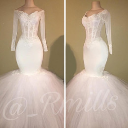 $enCountryForm.capitalKeyWord Australia - 2019 Vintage Mermaid Wedding Dresses Beach Long Sleeve Wedding Dress Maternity Pregnant Bridal Gowns Sexy Sheer Neck White Lace Custom Made