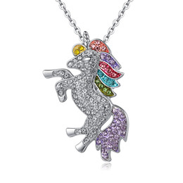 $enCountryForm.capitalKeyWord UK - High Quality Crystal Unicorn Necklaces & Pendants Trendy Jewelry For Women Baby Gifts for Girls Rainbow Animal Necklace