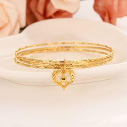 $enCountryForm.capitalKeyWord Australia - Dubai Gold bangles 24 k Solid Fine Gold Finish 3 hoop Heart pendant NEW Assemble bangle bracelet African Women jewelry Charm