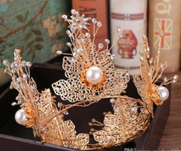 Cake shaping online shopping - Baroque crown sell like hot cakes whole circle big pearl golden crown leaf shape crown bride hair