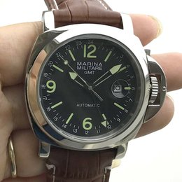 Discount 44mm watches - Men's Watch 44mm GMT Automatic Movement Stainless Steel Polished High Quality Leather Strap M44