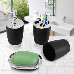 $enCountryForm.capitalKeyWord NZ - Fdit 4Pcs Set Bathroom Suit Accessories Include Cup Toothbrush Holder Soap Dish Dispenser Shampoo Press Bottle Bath Accessories D19011701