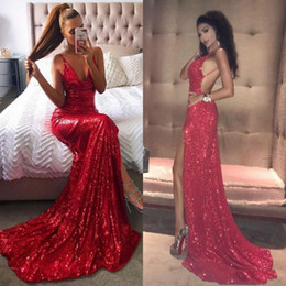 Red Dress V Neck Straps Australia - Sparkly Deep V Neck Backless Red Sequined Evening Dresses Wear 2019 Spaghetti Straps Mermaid Formal Long Prom Party Gowns