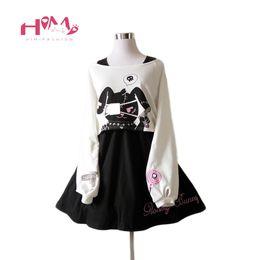 $enCountryForm.capitalKeyWord Canada - Black Comic Rabbit Dress Teens Girls 2 Pcs Suit Sweet Cotton Dress Short Cute Bunny Print Long Sleeves Japanese Lolita Dress Y19041001