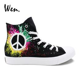 0528e68ede9d61 Wen Men Vulcanized Shoes Design Hand Painted Shoes Peace Symbol Black Canvas  Sneakers Women High Top Espadrilles Flat Low Heeled  264238
