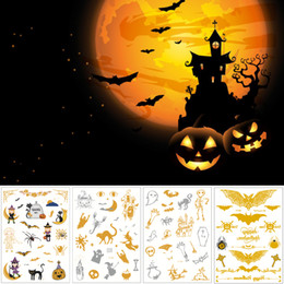 $enCountryForm.capitalKeyWord Australia - Gold Flash Temporary Halloween Tattoo Metal Silver Pumpkin Small Cat Bat Skull Decal Kid Arm Face Neck Body Art Tattoo Transfer Paper Design
