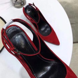 burgundy dance shoes 2019 - designer women high heels party fashion sexy pointed shoes Dance shoes wedding Double straps sandals fashion luxury desi