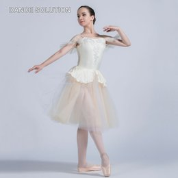 Wholesale ballet dances resale online - Ivory Spandex Camisole with Tulle Skirt Sleeveless Ballet Costume for Women Girl Ballerina Princess Dancing Dress