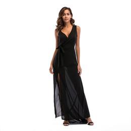 66e6741128039f 2019 Frühling neues Produkt Dame beiläufiges langes Kleid V-Ausschnitt  Seitenschlitzschlinge Chiffonkleid schwarzer langer reiner Farbenrock