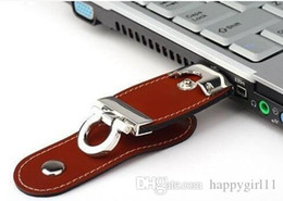Leather Flash Drive Australia - Factory price 2 GB Leather USB Flash 64GB Pen Drive Pendrive Flash Drive Card Memory Stick Drive 3 colors 104