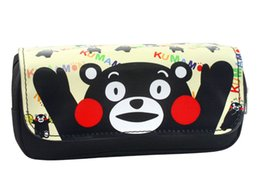 kumamon cartoon NZ - Anime Kumamon Cartoon Pencil Case Fashion Women and Men Makeup Bag Student Stationery Bag