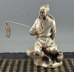 collection brass NZ - Miscellaneous bronze collection pure copper ornaments white copper silver plated brass Jiang Taigong fishing fisherman