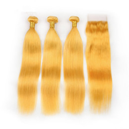 4x4 lace closures NZ - Silky Straight Virgin Malaysian Yellow Hair Weave Bundles with Top Closure 3Pcs Human Hair Yellow Wefts Extensions with 4x4 Lace Closure