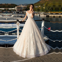 $enCountryForm.capitalKeyWord Australia - Vintage Lace Appliqued Sheer Ball Gown Wedding Dresses Bridal Gowns Short Sleeves Low Back Sexy Bridal Dresses
