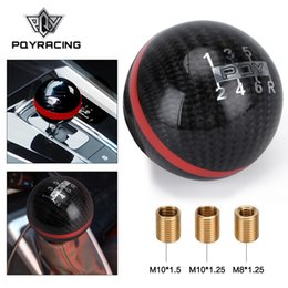 gears for sale NZ - PQY - Hot Sale Carbon Fiber MUGEN Gear Shift Knob 6 Speed Manual Automatic Spherical For Honda Acura TOYOTA NISSAN PQY-GSK06-6QY