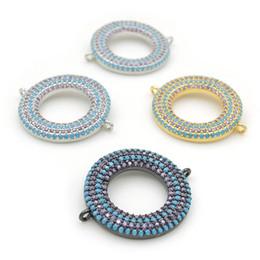 Micro Pave Connectors Australia - 26*22*3mm Micro Pave Kallaite&Purple CZ Ring Charm Connectors Fit For Men And Women Making Bracelets Jewelry