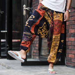Wholesale baggy pants orange resale online – Men Causal Flower Printed Hippy Baggy Boho Elastic Cross Pants Loose Trousers Aladdin Wide Leg Cotton Linen Harem Pants