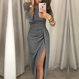 Discount dresses pencil mid calf length - 2018 New Fashion Lady Sexy One-shoulder Dress Autumn Long-sleeved Knee-length Dress Wrapped Hips Split Sparkling Evening