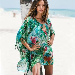 $enCountryForm.capitalKeyWord NZ - And Tunics Beach Dresses Lace Cover Up Coverups Bathing Suit Ups Beachwear For Women Woman Swim Skirt 2019 Chiffon Green Flowers Y19072001