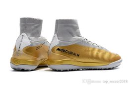 $enCountryForm.capitalKeyWord Australia - Cristiano Ronaldo Turf Football Boots 100% Original Gold White CR7 Soccer Cleats Mercurial Superfly V TF Indoor Soccer Shoes Size 6.5 - 11
