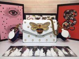 $enCountryForm.capitalKeyWord Australia - Women designer luxury handbags purses red white black leather with metal rhinestone bee crossbody bag ladies brand shoulder bags 25x16x4cm