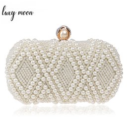 $enCountryForm.capitalKeyWord Australia - New Pearls Evening Clutch Bags White Bead Day Clutch Luxury Rhinestone Wedding Bride Purse Chain Mini Handbag shoulder bags