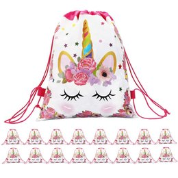 unicorn doll toy UK - 1Pc Plastic Cotton Unicorn Flower Print Backpack Drawstring Bag Girls Licorne Juguetes Storage Bag For Kids Plush Toys Storage