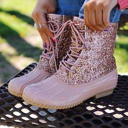 Stivali Donna tacco basso in pelle Stivali PU Lace Up paillettes brillante Bota Feminina Donne tacco grosso scarpe di colore solido in Offerta