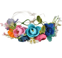 0653cadc6c935 Girls flowers crown bohemia style bridal simulation colorful flowers  garlands children princess wreath beach kids hair accessories F3572